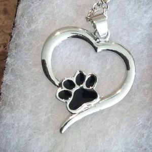 Paw necklace heart silver chain gift box